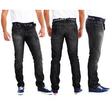 MENS SLIM FIT TAPERED JEANS/PANTS WITH FREE BELT SIZES WAIST 30-40  S R L