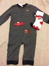 NWT Gymboree baby boy mouse fire engine truck romper socks SET 6 9 12 18 month