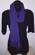 "Double Weave Purple Scarf with Fringe NWTs Soft and Stylish 12"" x 59"""