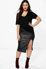 Boohoo Womens Plus Hayley Metallic Side Split Midi Skirt