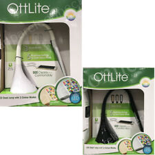 OttLite LED Desk Lamp with Color Changing Tunnel & USB Charger Plug -White/Black