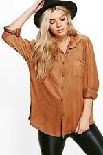 Boohoo Womens Tammy Oversized Suedette Shirt