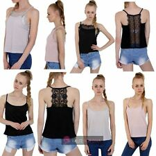 WOMENS NEW FRONT BACK INSERT LACE DETAIL STRAPPY CAMI CAMISOLE SUMMER TOP