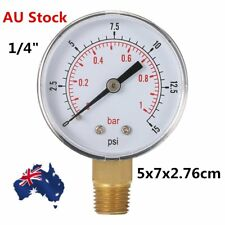 """Water and Air Pressure Gauge New 1/4"""" Brass Thread 0-15 PSI 0-1 Bar I5"""
