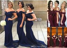 Elegant Off Shoulder Mermaid Formal Evening Dress Lace Prom Ball Gown Custom New
