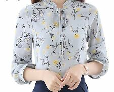 Chiffon Blouse Long Sleeve Arrivals Casual Fashion Print Floral Tops for Women's