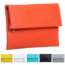 Ladies Leather Style Fold Over Clutch Bag Evening Bag Shoulder Handbag K402