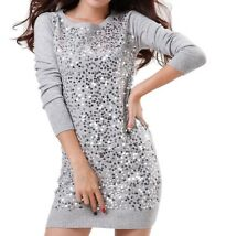 Women Spring Wool Sweater Long Sequined Jumper Knitted Pullover Dress !!!