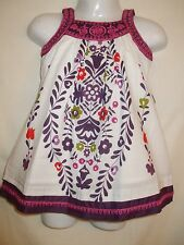 Baby Girls Pretty White and Purple Flower Summer Dress - 3-6 and18-24 Months