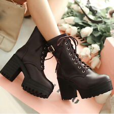 Size 5-10.5 Womens Leather High Block Heels Lace Up Ankle Boots Platforms Shoes