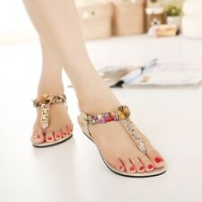 Women Crystal Stone Decoration Flat Bottom Comfortable Sandal