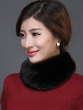 100%Real Genuine Knitted Mink Fur Round Shawl Scarf Chic Come Women's Black Wear