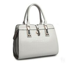 Charm in Hands Elegant Alligator Leather Cross Lock Tote Shoulder Handbag
