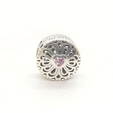 Genuine S925 Sterling Silver Love & Friendship Pink CZ Charm