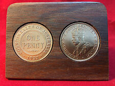 1932 Birthday Gift Present Jarrah Plaque w/ 1932 original penny -other years av