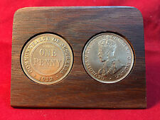 1912 Birthday Gift Present Jarrah Plaque w/ 1912 original penny -other years av