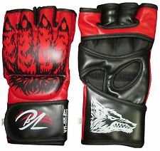 SUPER MMA GRAPPLING UFC CAGE SPARRING FIGHT BOXING PUNCH MITTS A-LEATHER GLOVES
