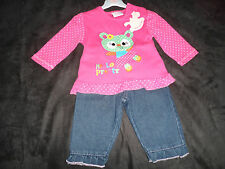 NewBaby Girls Long Sleeved Top and Jeans Set by Rock a Bye Baby. 0-6,6-12 months