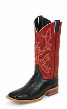 Justin Mens Red Full Quill Ostrich Western Boots AQHA Remuda