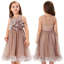 Flower Girl Princess Sleeveless Bridesmaid Wedding Prom Kids Party Tulle Dress ;