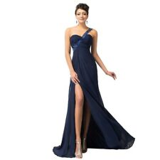 Women One Shoulder Beading Long Navy Blue Chiffon Gown Split Front Evening Dress