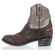 MEXICANA New Woman Grey Red Leather Texan Boots Shoes Made in Mexico