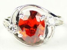 Created Padparadsha Sapphire, 925 Sterling Silver Ladies Ring, SR021-Handmade