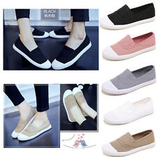 New Women Men's Canvas Leisure Loafer Shoes Slip-on Casual Flats Solid Shoes