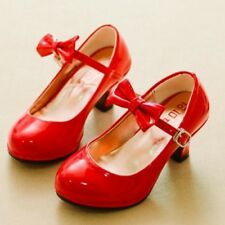 Girls Fashionable Patent Leather Bowtie Princess Low-heeled Dance Shoes