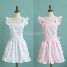 Girls Lace Bib Apron Housemaid Dress Apron Cafe Bar Party Costume with Pockets
