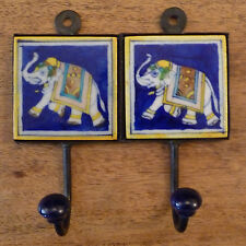 Indian Ceramic Tile Coat Robe Hook - Blue with Elephant and Yellow Border
