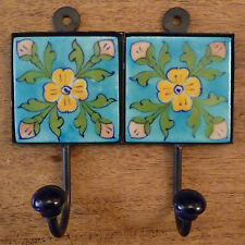 Indian Ceramic Tile Coat Robe Hook - Turquoise with Five Flowers - Fair Trade
