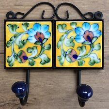 Indian Ceramic Tile Coat Robe Hook - Yellow with Blue Flower Red Bud -Fair Trade