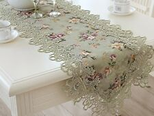 Trendy Table Runner Decorative Floral Print Lace Embroidered Cloth Bed Flag