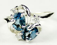 London Blue Topaz, 925 Sterling Silver Ring, SR016,-Handmade