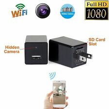 1080P WIFI USB SPY Camera Hidden Wall Phone Charger AC Adapter Plug spy camera