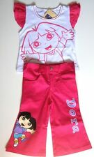 BNWT Dora Summer Outfit tshirt top 100% cotton girls t-shirt stretch pants Set