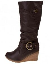 TRUFFLE COLLECTION Leather Look High Calf Length Mid Wedge Heeled Boots Brown