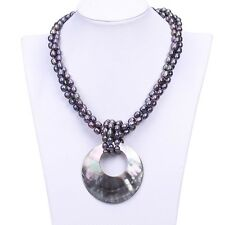 Natural Freshwater 3 Rows Strands Rice 6-7mm Pearl Necklace Pendant Women