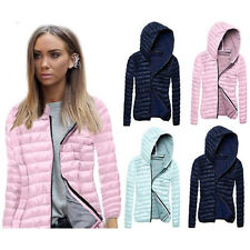 Fashion Womens Hooded Zip Jacket Trench Windbreaker Parka Hoodies Coat Outwear