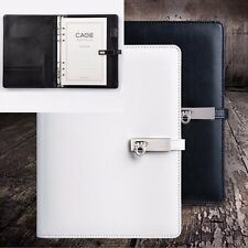 A5 Loose Leaf Leather Hasp Notebook Diary Travel Plan Calendar Schedule + Pen #J