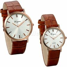 Classic Men's Women's Roman Numeral Dial Analog Quartz Leather Band Wrist Watch
