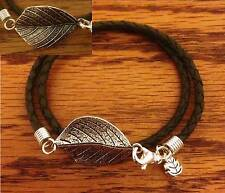 BRAIDED LEATHER BOLO CORD WRAP BRACELET with SILVER double-sided LEAF