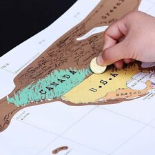 Deluxe Travel Scratch Off World Map Poster Personalized Journal Log Gift New P5