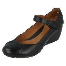 Ladies Clarks Black Leather Wedge Heel Shoes Funa Layer D Fit