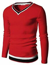 Doublju Mens V-Neck Sweater W/ Contrast Detail - Choose SZ/Color