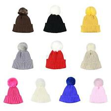 1-6Y Toddler Baby Kids Girls Boys Winter Warm Knitted Fur Hat Thick Outdoor Cap