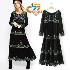 Vintage Hippie Mexican Floral Embroidered Boho Ethnic Festival MAXI party DRESS