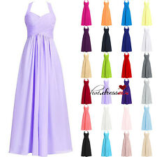 New STOCK Halter Formal Prom Party Ball Gowns Evening Long Bridesmaid Dress 6-20