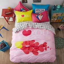 Red Hearts Print Cotton Blend Full/Queen Duvet Cover Set Pink Quilt Cover